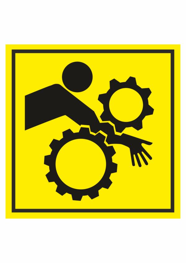 Značení strojů dle ISO 11 684 - Symboly: Nebezpečí vtažení paže do stroje