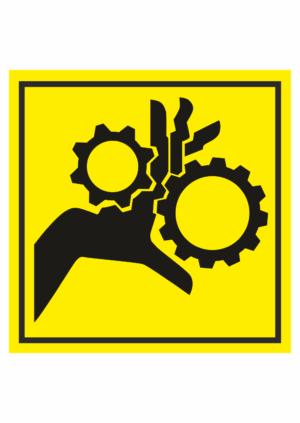 Značení strojů dle ISO 11 684 - Symboly: Nebezpečí vtažení prstů nebo dlaně do stroje