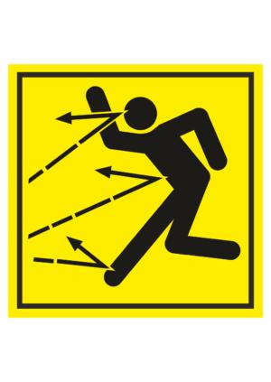 Značení strojů dle ISO 11 684 - Symboly: Nebezpečí zásahu letícím předmětem