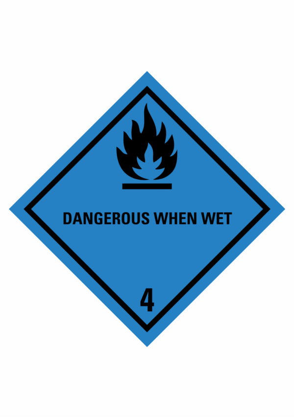 Značení nebezpečných látek a obalů - Symboly ADR: Dangerous when wet (ADR Třída 4.3)