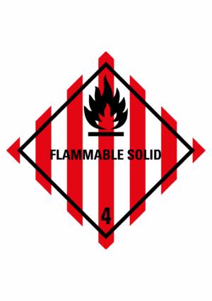 Značení nebezpečných látek a obalů - Symboly ADR: Flammable solid (ADR Třída 4.1)