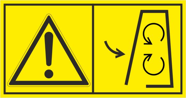 Značení strojů dle ISO 11 684 - Kombinovaný štítek: Výstraha / Nesundávej kryt za provozu (Horizontální)