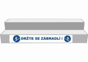 Podlahové pásy a značky - Označení schodů: Držte se zábradlí (Bílý podklad)