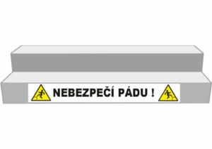Podlahové pásy a značky - Označení schodů: Nebezpečí pádu (Bílý podklad)