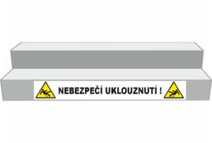 Podlahové pásy a značky - Označení schodů: Nebezpečí uklouznutí (Bílý podklad)