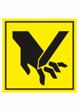 Značení strojů dle ISO 11 684 - Symboly: Nebezpečí oddělení prstů nebo dlaně