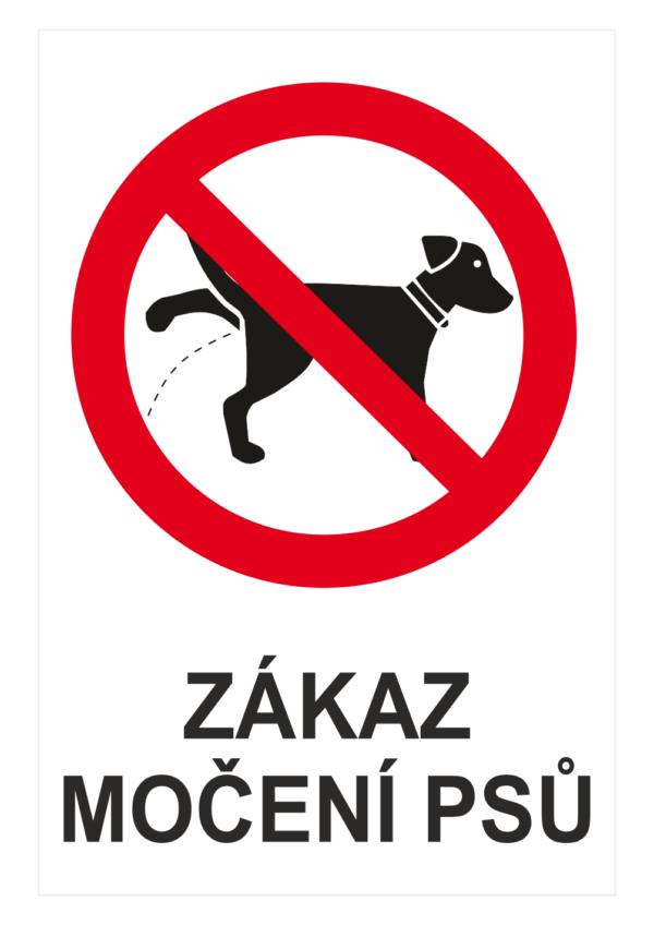 """Zákazová bezpečnostní tabulka symbol s textem: """"Zákaz močení psů"""""""