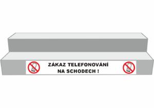 Podlahové pásy a značky - Označení schodů: Zákaz telefonování na schodech (Bílý podklad)